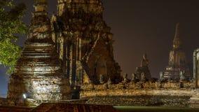 Ayutthaya Thailand bij Nacht Stock Afbeeldingen
