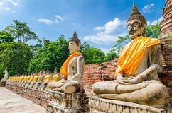 Ayutthaya (Thailand), Buddha statues in an old temple Royalty Free Stock Image