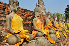 Ayutthaya, Thailand: Buddha statues at Thai Wat Stock Photography