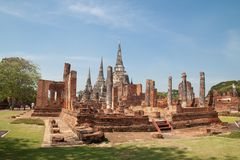 AYUTTHAYA, THAILAND - December 25, 2018 : Wat phrasrisanphet is Thailand`s famous historical place. Ancient building royalty free stock photography