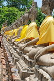 AYUTTHAYA-THAILAND-: Fördärvar av kloster, fördärvar av det gamla pet Arkivfoto