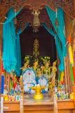 AYUTTHAYA THAILAND, FEBRUARI, 08, 2018: Inomhus sikt av blandade diagram inom av en tempel på Wat Lokayasutharam in Royaltyfri Fotografi