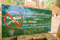 AYUTTHAYA, THAILAND, FEBRUARY, 08, 2018: Outdoor view of informative sign of not allowed drones, located at Wat Pra Si. Sanphet is part of the Ayutthaya royalty free stock images
