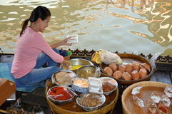 Ayutthaya, Thailand: Floating Market Food Seller Stock Photo