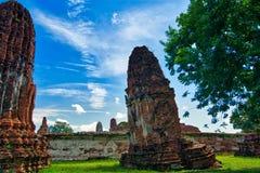 Ayutthaya, Thailand; 3 juli 2018: Wat Mahathat in het Historische Park van Ayutthaya royalty-vrije stock afbeelding