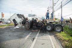 AYUTTHAYA, THAILAND - JULY 06: Rescue forces in a deadly car accident scene on July 06 2014. Road accident coupe gray hit the SUV Royalty Free Stock Photography