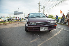 AYUTTHAYA, THAILAND - JULY 06: Rescue forces in a deadly car accident scene on July 06 2014. Road accident coupe gray hit the SUV Royalty Free Stock Photo