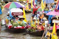 AYUTTHAYA, THAILAND - JULY 11: Unidentified people on flower boa Stock Image