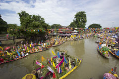 AYUTTHAYA, THAILAND - JULY 11: Unidentified people on flower boa Stock Photos
