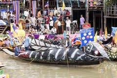 AYUTTHAYA, THAILAND - JULY 11: Unidentified people on flower boa Stock Photography