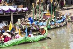 AYUTTHAYA, THAILAND - JULY 11: Unidentified people on flower boa Stock Photo