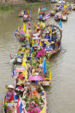 AYUTTHAYA, THAILAND - JULY 11: Unidentified people on flower boa Royalty Free Stock Photo