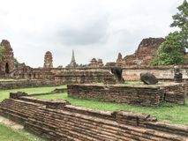 Ayutthaya,thailand-June08 2019:Wat Mahathat temple.it was built in1374 in the early ayutthaya period. Ayutthaya thailand unseen royalty free stock photography