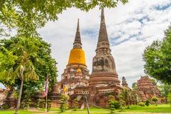 AYUTTHAYA, THAILAND-JUNE 27, 2013: Watyaichaimongkol Fotografia Royalty Free