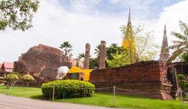 AYUTTHAYA,THAILAND-JUNE 27, 2013: Watyaichaimongkol. AYUTTHAYA,THAILAND-JUNE 27, 2013: Reclining Buddha at Watyaichaimongkol Royalty Free Stock Photos