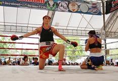 Thaise bokswedstrijd bij Muay Thaise Strijd Fastival Royalty-vrije Stock Foto
