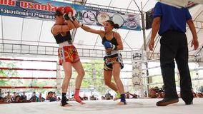 Thaise bokswedstrijd bij Muay Thaise Strijd Fastival Stock Fotografie