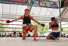 Thai boxing match at Muay Thai Fight Fastival Royalty Free Stock Photo
