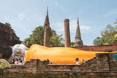 Ayutthaya, Thailand - November 01, 2015: The big sleeping Buddha Stock Photos