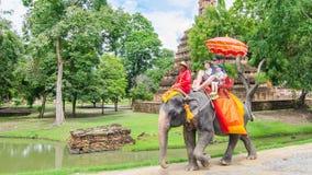 Ayutthaya,Thailand - October 11,2015: The Touris On Elephant Wa Royalty Free Stock Images