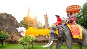 Ayutthaya,Thailand - October 11,2015: The touris on elephant Stock Photography