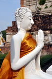 Ayutthaya, Thailand: Praying White Buddha wi Stock Photography