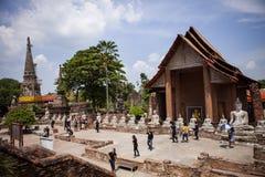 Ayutthaya thailand - september14,2017 : tourist attraction to wat yai chaimongkol world heritage site of unesco in ayutthaya stock photos