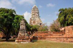 Ayutthaya, Thailand: Wat Ratcha Burana. The majestic ruins of 15th century Wat Ratcha Burana with its magnificent center Prang rising above the buildings, prangs Stock Photography