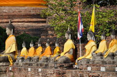 Ayutthaya, Thailand: Wat Yai Chai Mongkon Buddhas Stock Photography