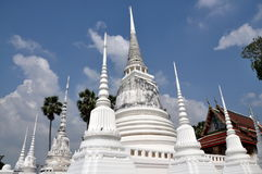 Ayutthaya, Thailand: White Chedis at Thai Temple Royalty Free Stock Photos
