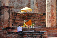 Ayutthaya, Thailand: Woman Praying at Thai Wat Royalty Free Stock Photo