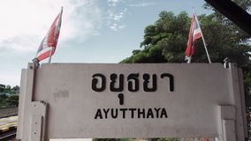 Ayutthaya Train Station. With flags in slow motion stock video