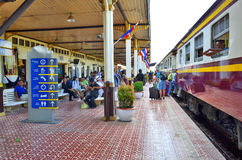 Ayutthaya train station. With passengers embarking on the train, Thailand stock images