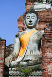 Ayutthaya World Heritage Site. AYUTTHAYA,THAILAND-Ayutthaya World Heritage Site, old pagoda and image of buddha be ruined more than 500 years Royalty Free Stock Image