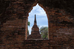 ayutthayaen fördärvar Arkivfoto