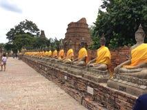 Ayutthayascluptures van Boedha Royalty-vrije Stock Afbeelding