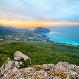 Ayuv Dag mountain and Hurzuf. Crimea, Ukraine. Bear Mountain (Ayuv Dag) and Hurzuf from the viewpoint rock Stock Images
