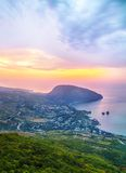 Ayuv Dag mountain and Hurzuf. Crimea, Ukraine. Bear Mountain (Ayuv Dag) and Hurzuf from the viewpoint rock Royalty Free Stock Image