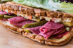 Ayvalik Toast / Salami Sandwich with Russian Salad and pickle Stock Images