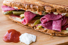 Ayvalik Toast / Salami Sandwich with Russian Salad and pickle Stock Image