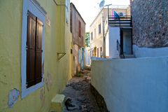 Ayvalik Town, old streets in Cunda Stock Images