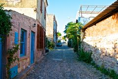 Ayvalik Town, old streets Stock Photos