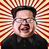 Ayvalik, Turquía - diciembre de 2017: Retrato de la historieta de la Jong-O.N.U de Kim, i ilustración del vector
