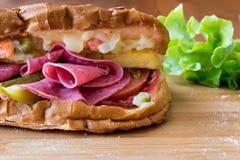 Ayvaliktoost/Salamisandwich met Russische Salade en groenten in het zuurexemplaarruimte Stock Afbeelding