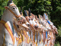 Ayyanar temple Tamil Nadu. He Ayyanar temple horse temple Rows of grinning and colourful terra cotta horses greet you once you enter the temple complex. Ayyanar Stock Photo
