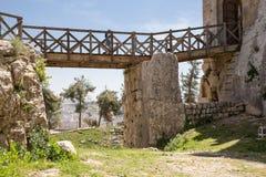 Ayyubidslotten av Ajloun i nordlig Jordanien som byggs i det 12th århundradet, Mellanösten Arkivbild