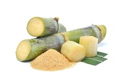 Azúcar crudo natural hecho de la caña de azúcar orgánica Fotografía de archivo
