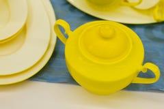Azúcar-cuenco amarillo hermoso Fotos de archivo libres de regalías