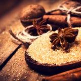 Azúcar de Brown, especias, canela, anís de estrella y nueces en un b de madera Foto de archivo libre de regalías