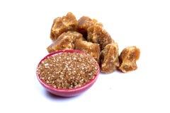 Azúcar de Brown y azúcar de savia de palmera Imagen de archivo libre de regalías